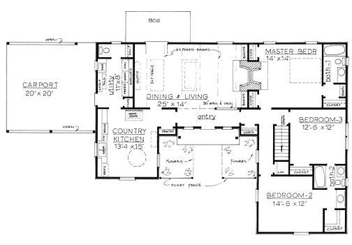 country home plan f 1678 - One Story Country House Plans
